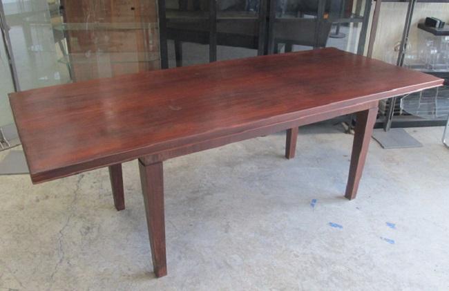 Bureau bois dessus cuir bleu et table idf asmb